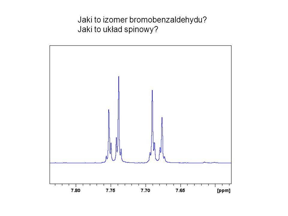 Jaki to izomer bromobenzaldehydu? Jaki to układ spinowy?