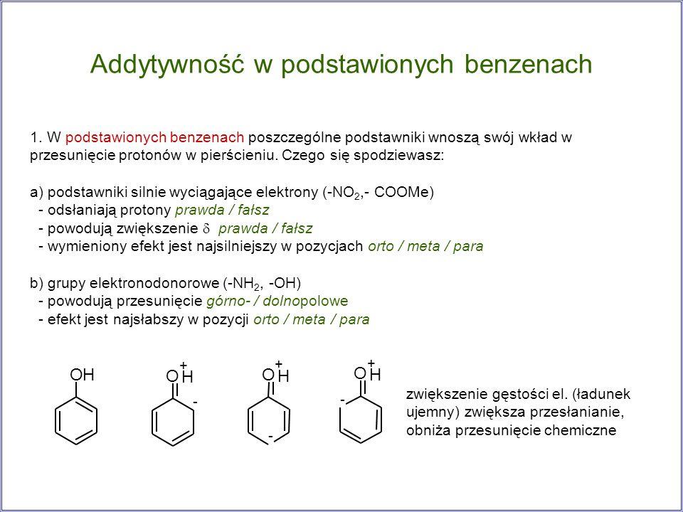 Addytywność w podstawionych benzenach 1. W podstawionych benzenach poszczególne podstawniki wnoszą swój wkład w przesunięcie protonów w pierścieniu. C