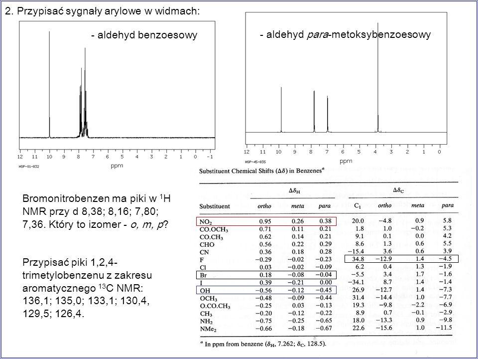 - aldehyd benzoesowy 2. Przypisać sygnały arylowe w widmach: - aldehyd para-metoksybenzoesowy Bromonitrobenzen ma piki w 1 H NMR przy d 8,38; 8,16; 7,