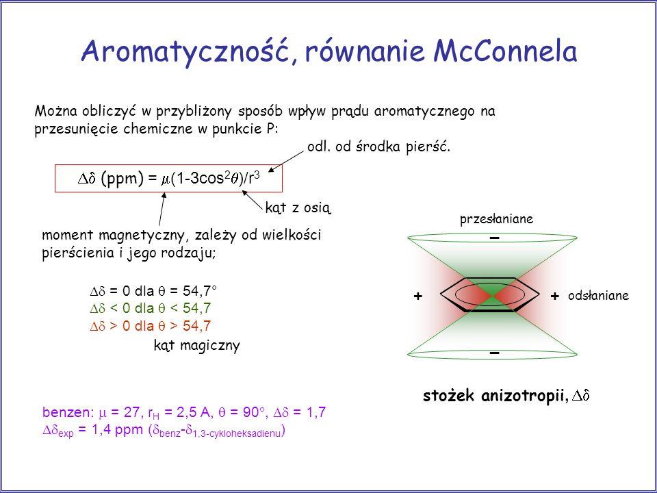 Aromatyczność, równanie McConnela Można obliczyć w przybliżony sposób wpływ prądu aromatycznego na przesunięcie chemiczne w punkcie P: (ppm) = (1-3cos