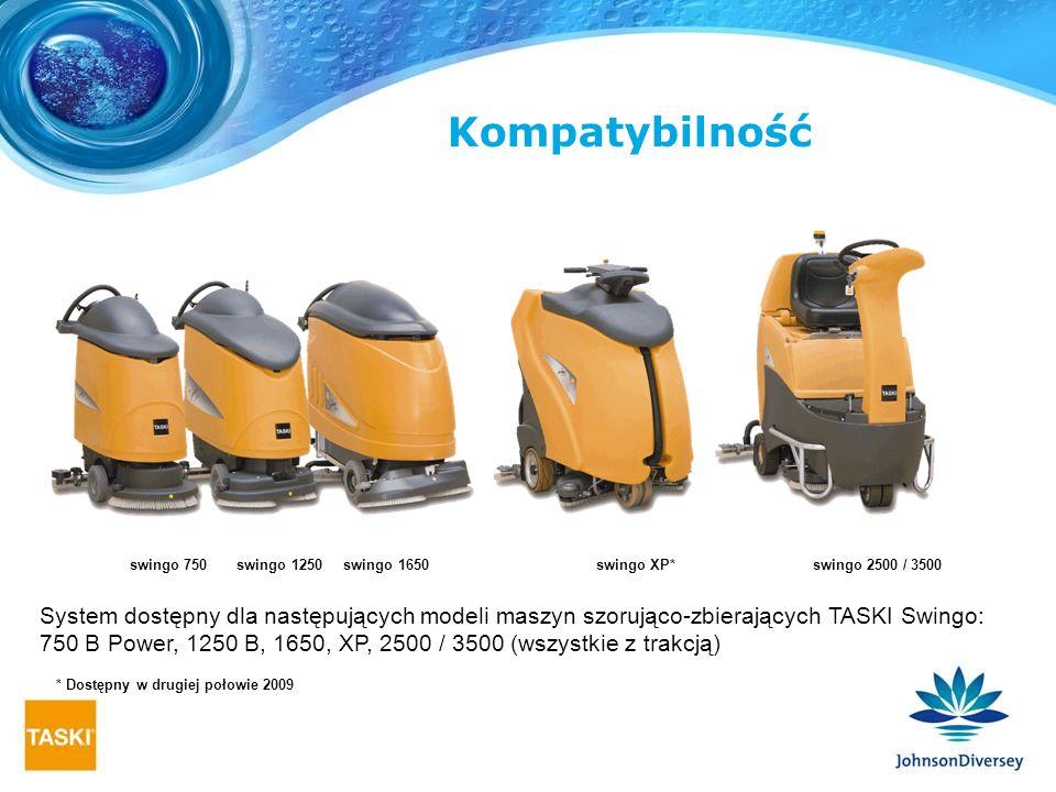 System dostępny dla następujących modeli maszyn szorująco-zbierających TASKI Swingo: 750 B Power, 1250 B, 1650, XP, 2500 / 3500 (wszystkie z trakcją)