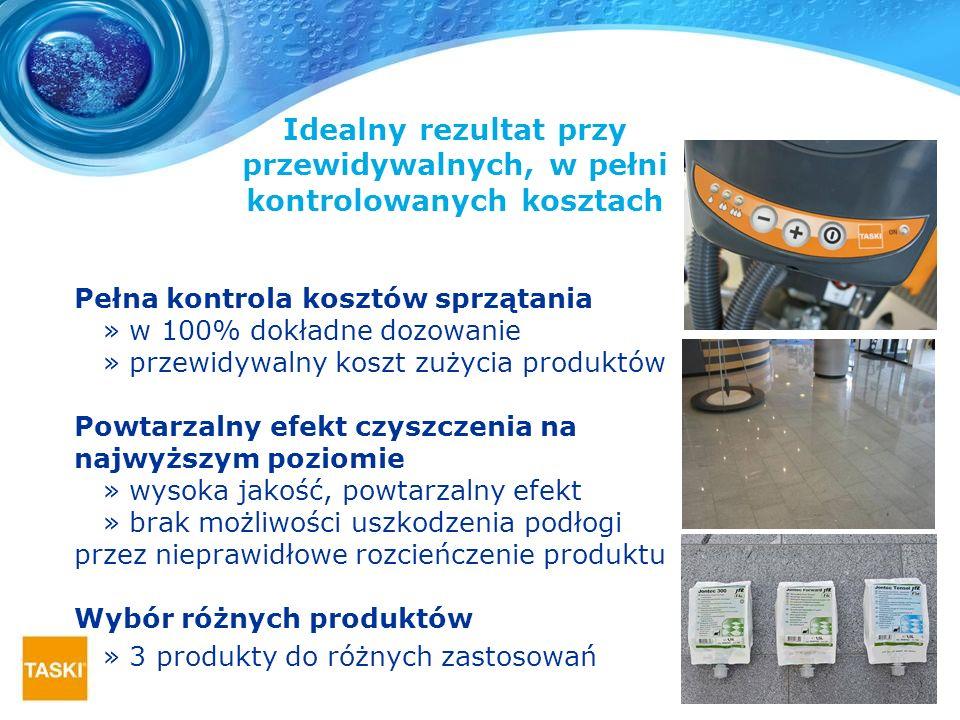 Pełna kontrola kosztów sprzątania » w 100% dokładne dozowanie » przewidywalny koszt zużycia produktów Powtarzalny efekt czyszczenia na najwyższym pozi