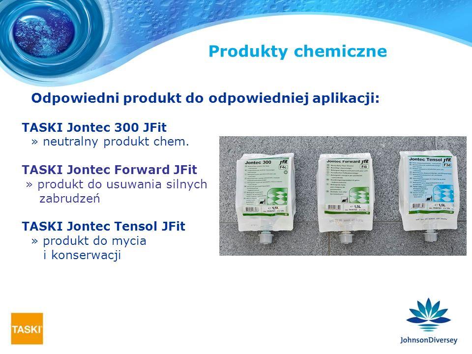 Odpowiedni produkt do odpowiedniej aplikacji: TASKI Jontec 300 JFit » neutralny produkt chem. TASKI Jontec Forward JFit » produkt do usuwania silnych