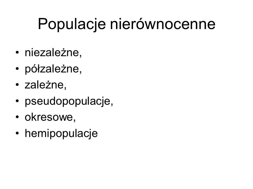 Populacje nierównocenne niezależne, półzależne, zależne, pseudopopulacje, okresowe, hemipopulacje