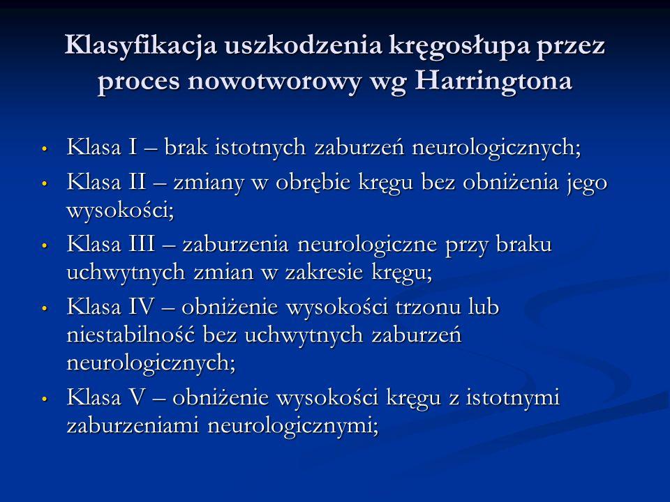 Klasyfikacja uszkodzenia kręgosłupa przez proces nowotworowy wg Harringtona Klasa I – brak istotnych zaburzeń neurologicznych; Klasa I – brak istotnyc