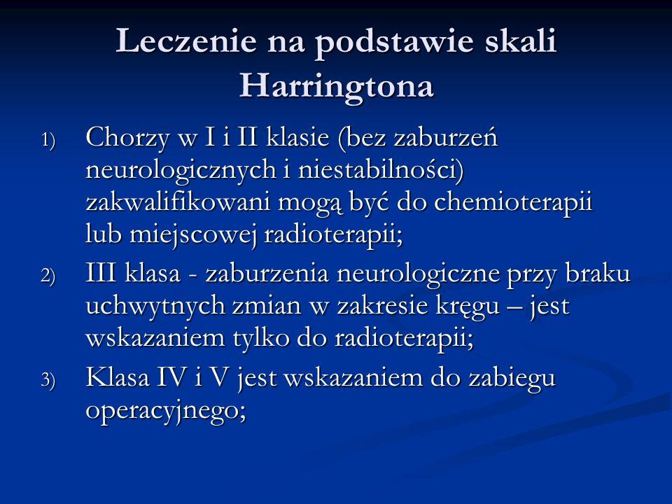 Leczenie na podstawie skali Harringtona 1) Chorzy w I i II klasie (bez zaburzeń neurologicznych i niestabilności) zakwalifikowani mogą być do chemiote