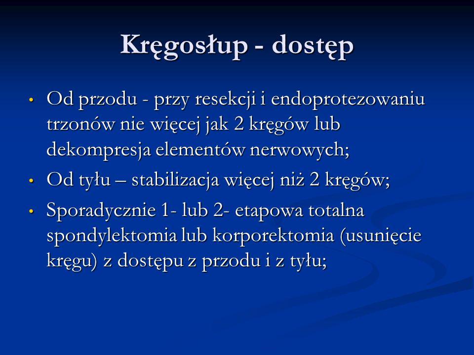 Kręgosłup - dostęp Od przodu - przy resekcji i endoprotezowaniu trzonów nie więcej jak 2 kręgów lub dekompresja elementów nerwowych; Od przodu - przy
