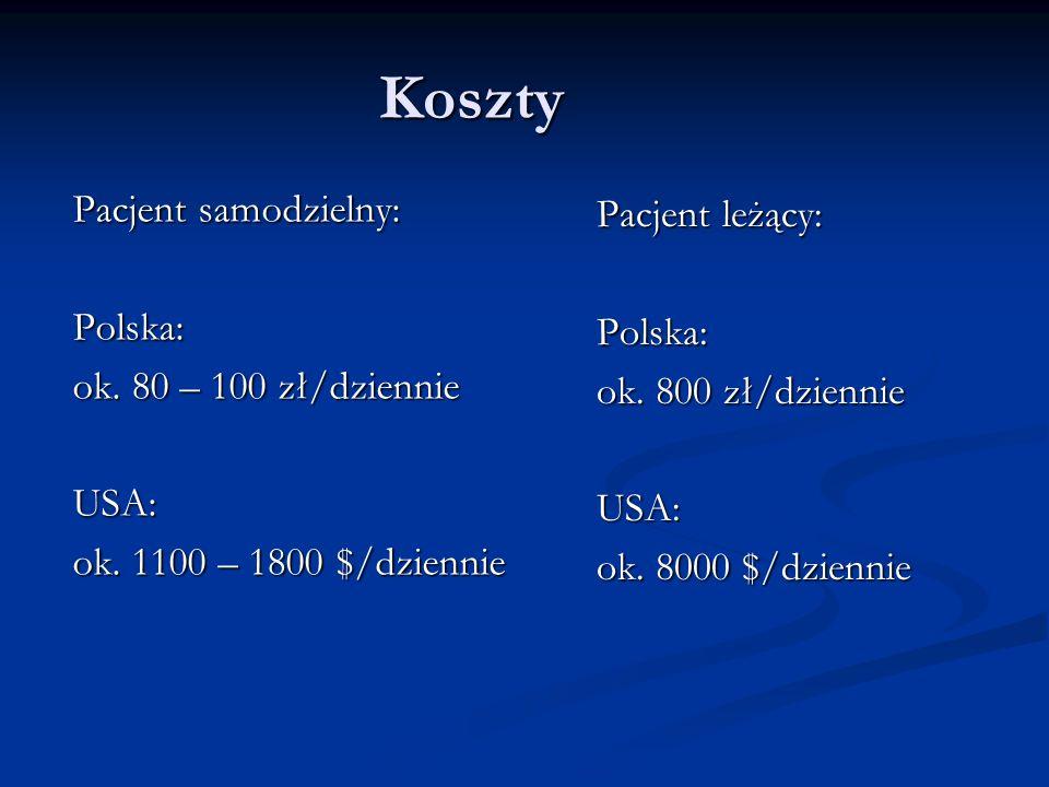 Koszty Pacjent samodzielny: Polska: ok. 80 – 100 zł/dziennie USA: ok. 1100 – 1800 $/dziennie Pacjent leżący: Polska: ok. 800 zł/dziennie USA: ok. 8000