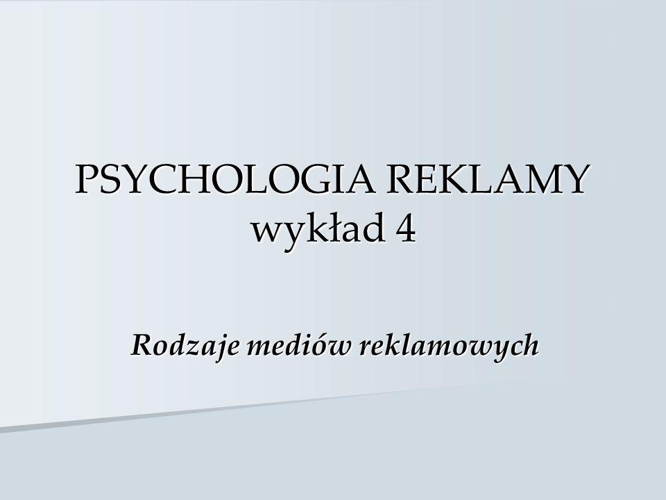 PSYCHOLOGIA REKLAMY wykład 4 Rodzaje mediów reklamowych
