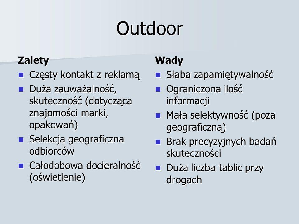 Outdoor Zalety Częsty kontakt z reklamą Częsty kontakt z reklamą Duża zauważalność, skuteczność (dotycząca znajomości marki, opakowań) Duża zauważalno