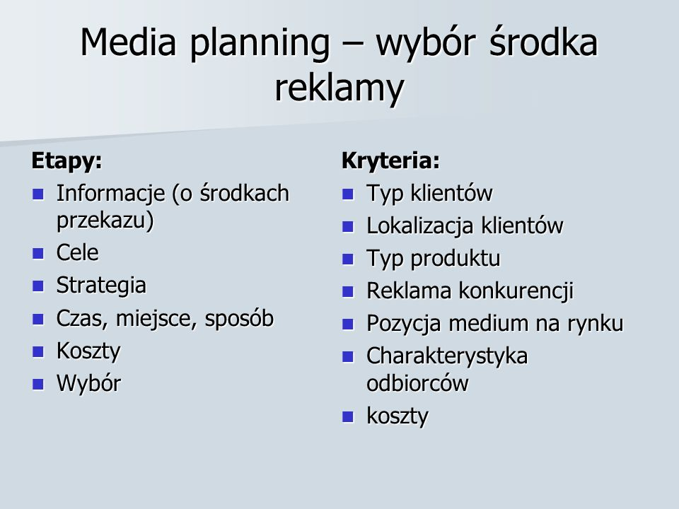 Media planning – wybór środka reklamy Etapy: Informacje (o środkach przekazu) Informacje (o środkach przekazu) Cele Cele Strategia Strategia Czas, mie