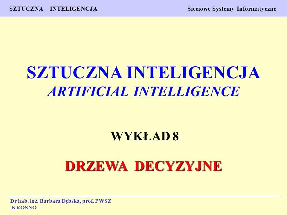 1 Wykład 7 SZTUCZNA INTELIGENCJA Sieciowe Systemy Informatyczne Dr hab. inż. Barbara Dębska, prof. PWSZ Krosno SZTUCZNA INTELIGENCJA ARTIFICIAL INTELL
