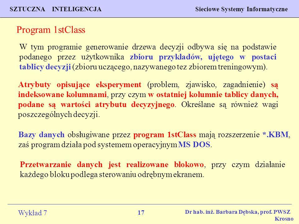 17 Wykład 7 SZTUCZNA INTELIGENCJA Sieciowe Systemy Informatyczne Dr hab. inż. Barbara Dębska, prof. PWSZ Krosno Program 1stClass W tym programie gener