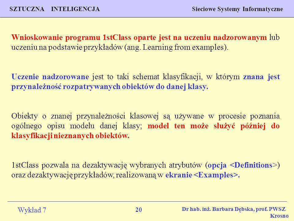 20 Wykład 7 SZTUCZNA INTELIGENCJA Sieciowe Systemy Informatyczne Dr hab. inż. Barbara Dębska, prof. PWSZ Krosno Wnioskowanie programu 1stClass oparte
