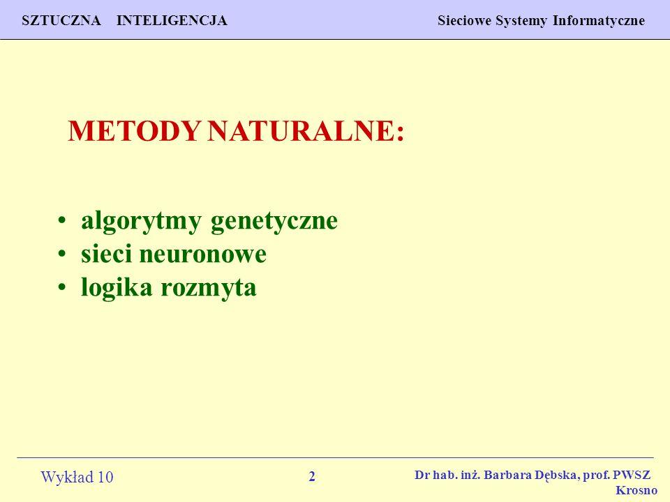 2 Wykład 10 SZTUCZNA INTELIGENCJA Sieciowe Systemy Informatyczne Dr hab. inż. Barbara Dębska, prof. PWSZ Krosno algorytmy genetyczne sieci neuronowe l