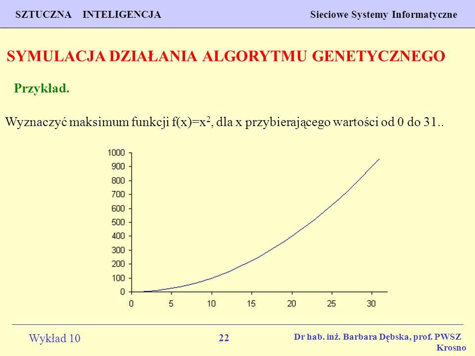 22 Wykład 10 SZTUCZNA INTELIGENCJA Sieciowe Systemy Informatyczne Dr hab. inż. Barbara Dębska, prof. PWSZ Krosno SYMULACJA DZIAŁANIA ALGORYTMU GENETYC