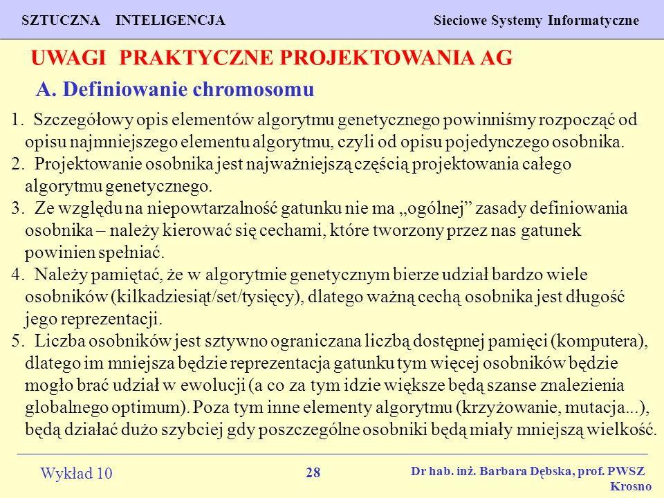 28 Wykład 10 SZTUCZNA INTELIGENCJA Sieciowe Systemy Informatyczne Dr hab. inż. Barbara Dębska, prof. PWSZ Krosno UWAGI PRAKTYCZNE PROJEKTOWANIA AG A.