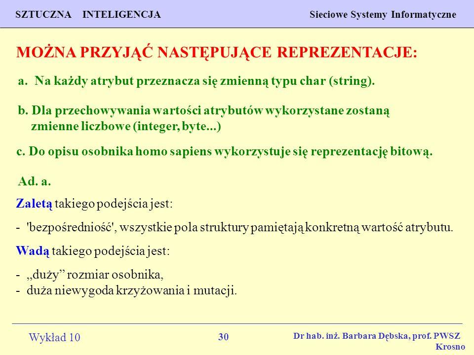 30 Wykład 10 SZTUCZNA INTELIGENCJA Sieciowe Systemy Informatyczne Dr hab. inż. Barbara Dębska, prof. PWSZ Krosno MOŻNA PRZYJĄĆ NASTĘPUJĄCE REPREZENTAC