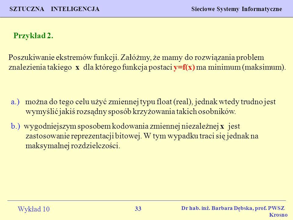 33 Wykład 10 SZTUCZNA INTELIGENCJA Sieciowe Systemy Informatyczne Dr hab. inż. Barbara Dębska, prof. PWSZ Krosno Przykład 2. Poszukiwanie ekstremów fu
