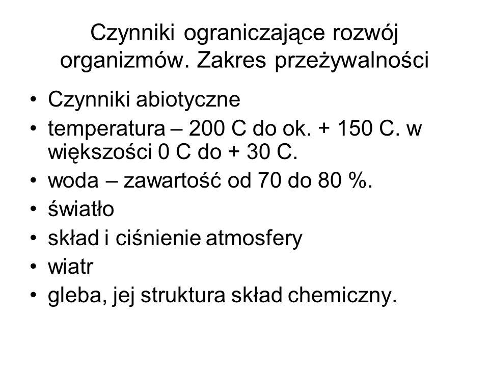 Czynniki ograniczające rozwój organizmów. Zakres przeżywalności Czynniki abiotyczne temperatura – 200 C do ok. + 150 C. w większości 0 C do + 30 C. wo
