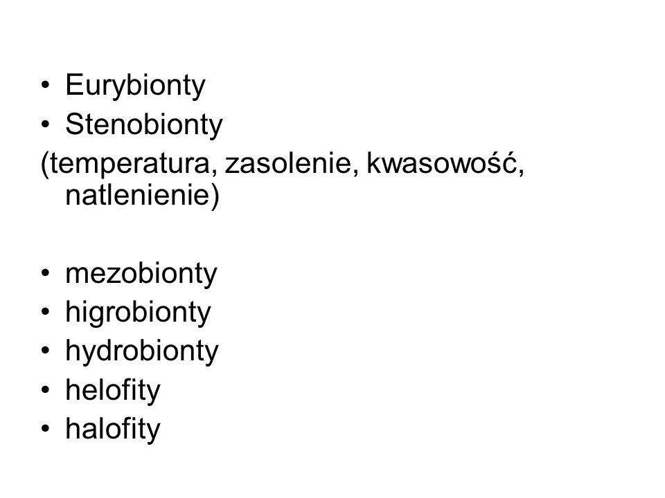 Eurybionty Stenobionty (temperatura, zasolenie, kwasowość, natlenienie) mezobionty higrobionty hydrobionty helofity halofity