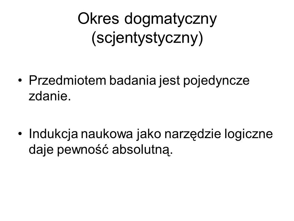 Okres dogmatyczny (scjentystyczny) Przedmiotem badania jest pojedyncze zdanie. Indukcja naukowa jako narzędzie logiczne daje pewność absolutną.