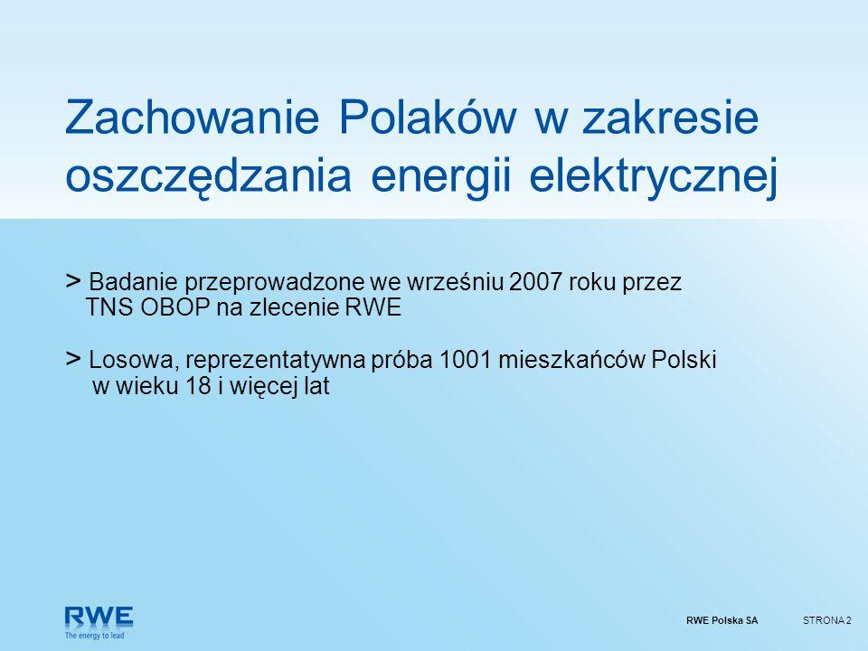 RWE Polska SASTRONA 2 Zachowanie Polaków w zakresie oszczędzania energii elektrycznej > Badanie przeprowadzone we wrześniu 2007 roku przez TNS OBOP na