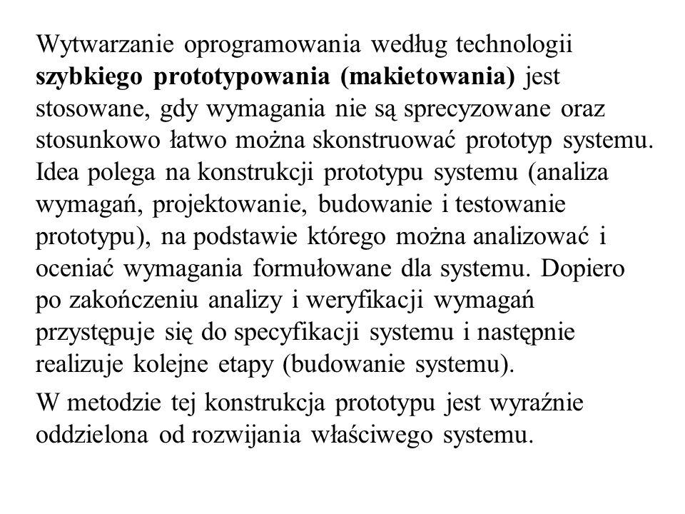 Wytwarzanie oprogramowania według technologii szybkiego prototypowania (makietowania) jest stosowane, gdy wymagania nie są sprecyzowane oraz stosunkow