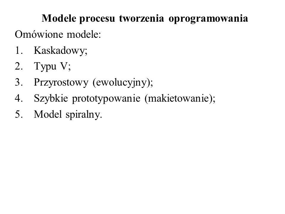 Modele procesu tworzenia oprogramowania Omówione modele: 1.Kaskadowy; 2.Typu V; 3.Przyrostowy (ewolucyjny); 4.Szybkie prototypowanie (makietowanie); 5