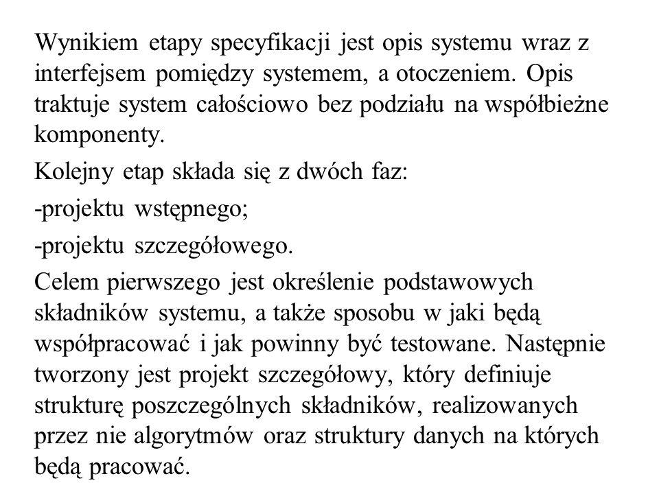 Wynikiem etapy specyfikacji jest opis systemu wraz z interfejsem pomiędzy systemem, a otoczeniem. Opis traktuje system całościowo bez podziału na wspó