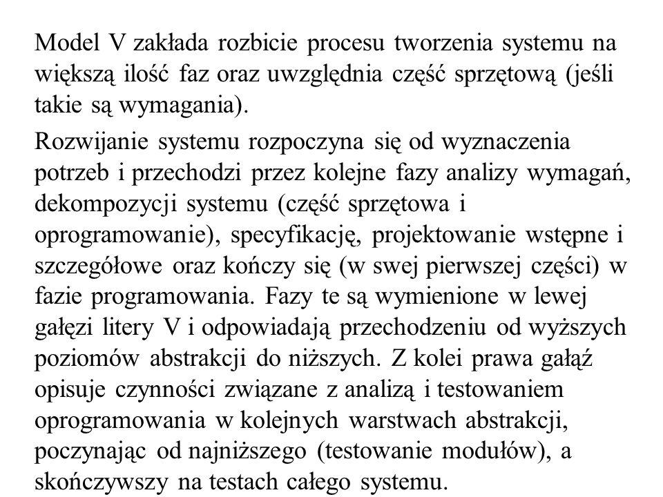 Model V zakłada rozbicie procesu tworzenia systemu na większą ilość faz oraz uwzględnia część sprzętową (jeśli takie są wymagania). Rozwijanie systemu