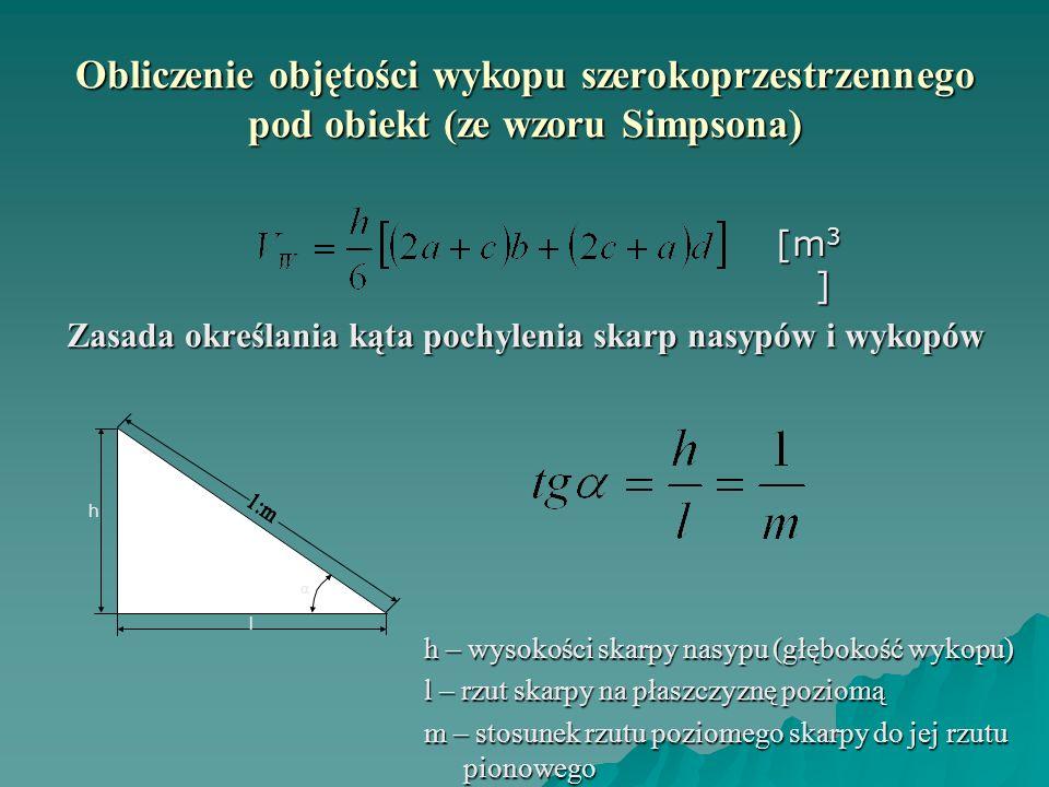 Obliczenie objętości wykopu szerokoprzestrzennego pod obiekt (ze wzoru Simpsona) Zasada określania kąta pochylenia skarp nasypów i wykopów [m 3 ] l h