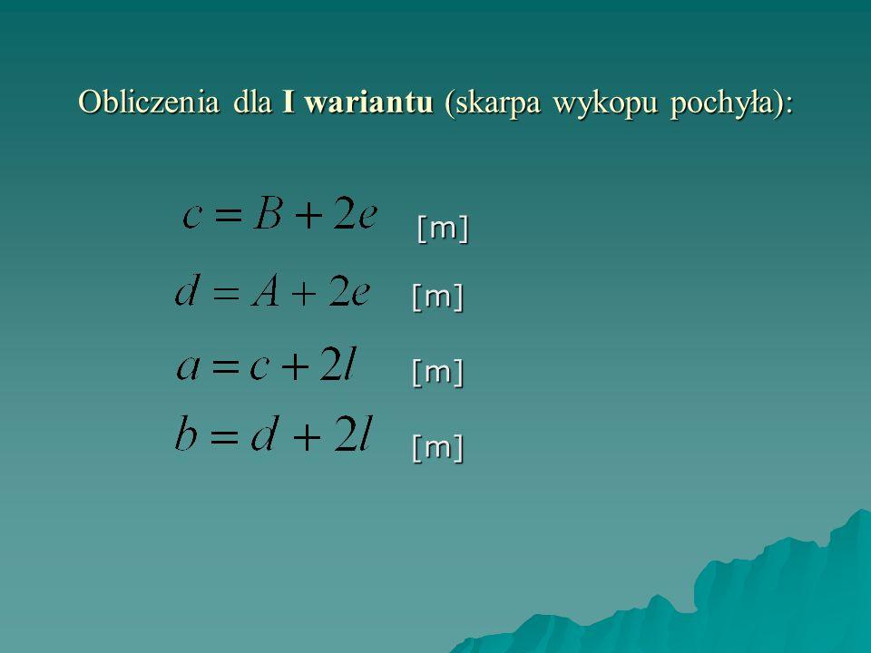 Obliczenia dla I wariantu (skarpa wykopu pochyła): [m][m] [m] [m]