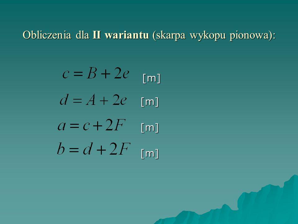 Obliczenia dla II wariantu (skarpa wykopu pionowa): [m][m] [m] [m]