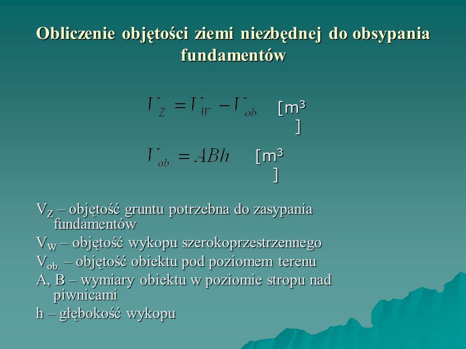 Obliczenie objętości ziemi niezbędnej do obsypania fundamentów V Z – objętość gruntu potrzebna do zasypania fundamentów V W – objętość wykopu szerokop