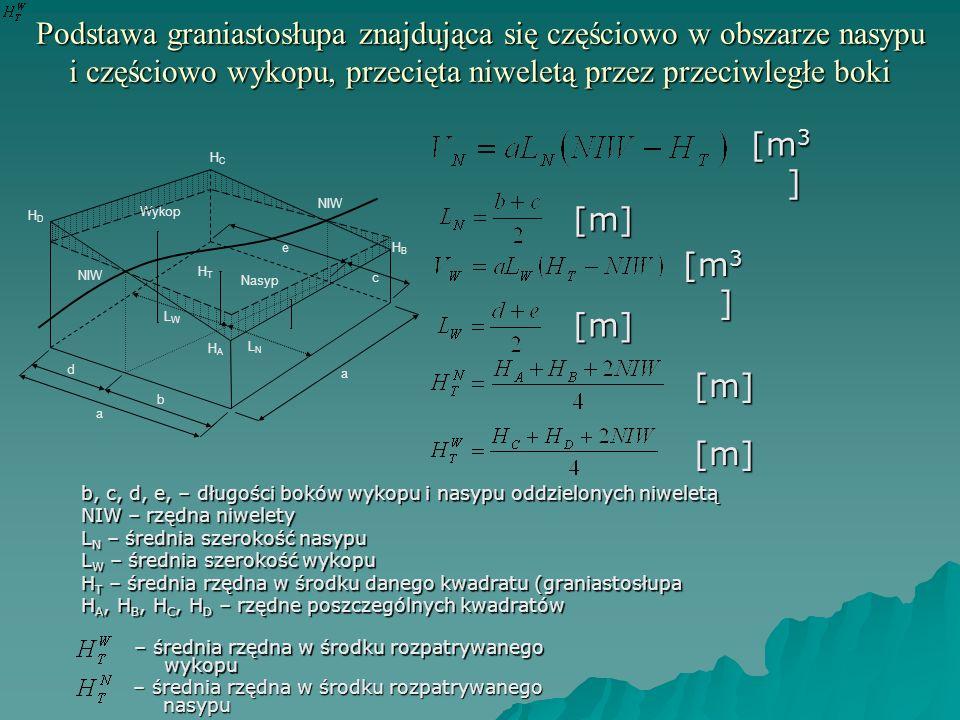 Podstawa graniastosłupa znajdująca się częściowo w obszarze nasypu i częściowo wykopu, przecięta niweletą przez przeciwległe boki b, c, d, e, – długoś