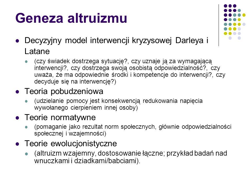 Geneza altruizmu Decyzyjny model interwencji kryzysowej Darleya i Latane (czy świadek dostrzega sytuację?, czy uznaje ją za wymagającą interwencji?, c