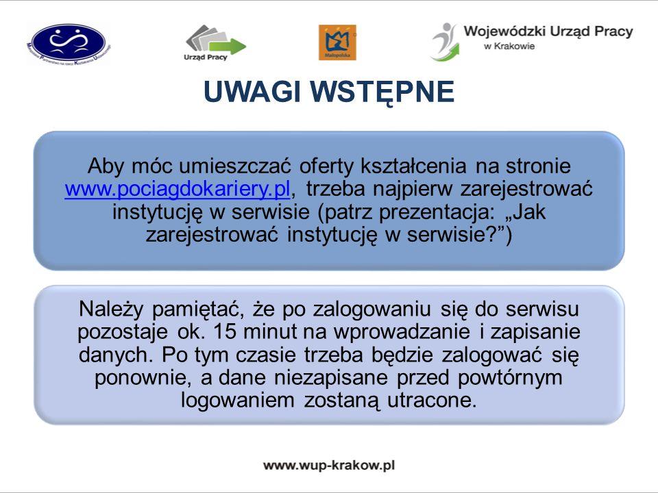 UWAGI WSTĘPNE Aby móc umieszczać oferty kształcenia na stronie www.pociagdokariery.pl, trzeba najpierw zarejestrować instytucję w serwisie (patrz prez