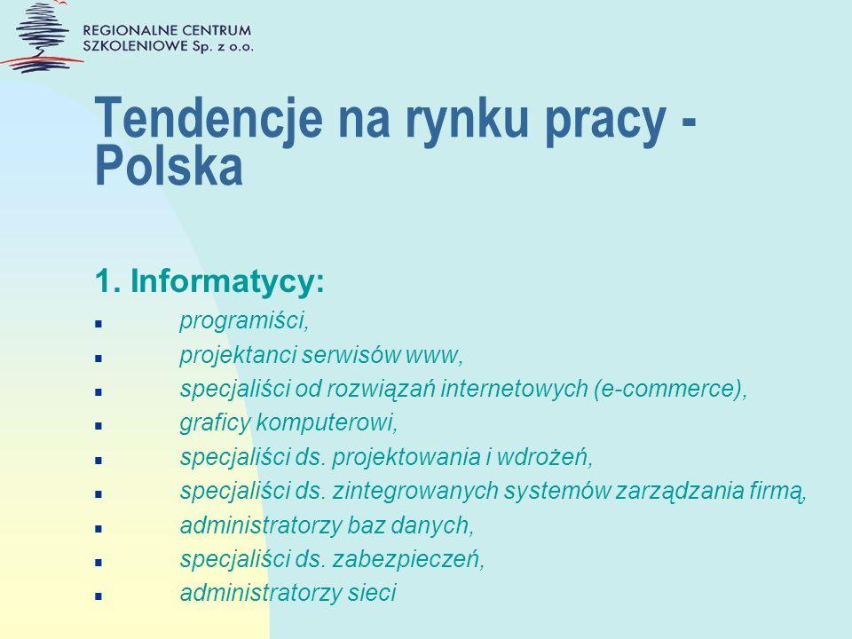 Tendencje na rynku pracy - Polska 1. Informatycy: n programiści, n projektanci serwisów www, n specjaliści od rozwiązań internetowych (e-commerce), n