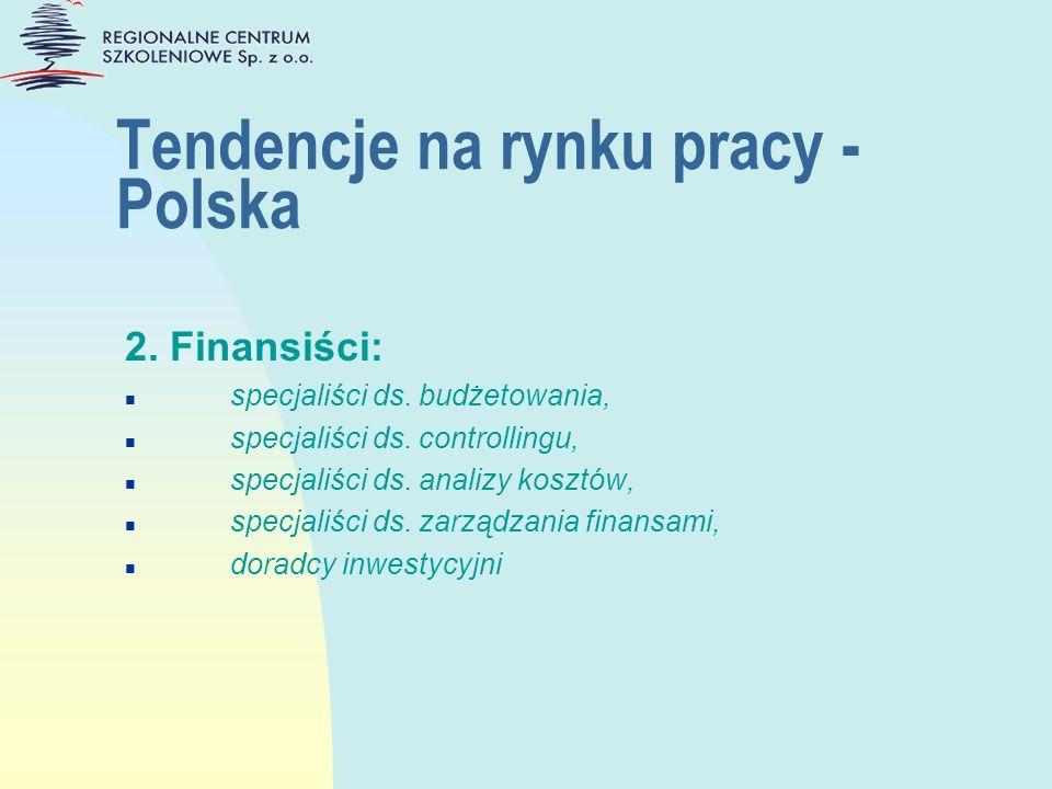 Tendencje na rynku pracy - Polska 2. Finansiści: n specjaliści ds. budżetowania, n specjaliści ds. controllingu, n specjaliści ds. analizy kosztów, n