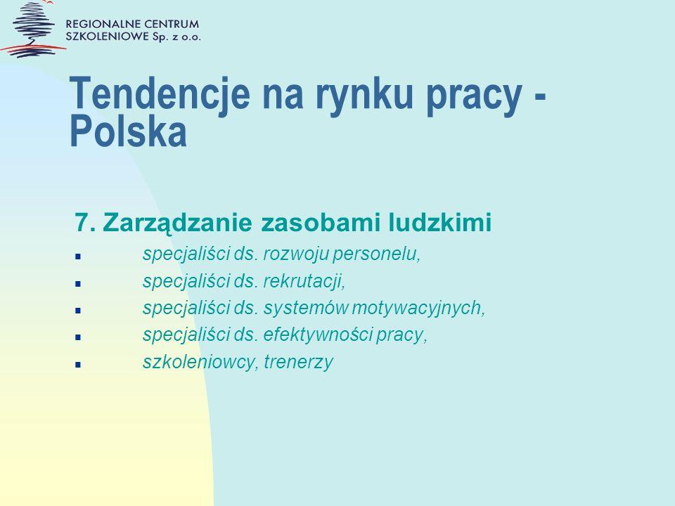 Tendencje na rynku pracy - Polska 7. Zarządzanie zasobami ludzkimi n specjaliści ds. rozwoju personelu, n specjaliści ds. rekrutacji, n specjaliści ds