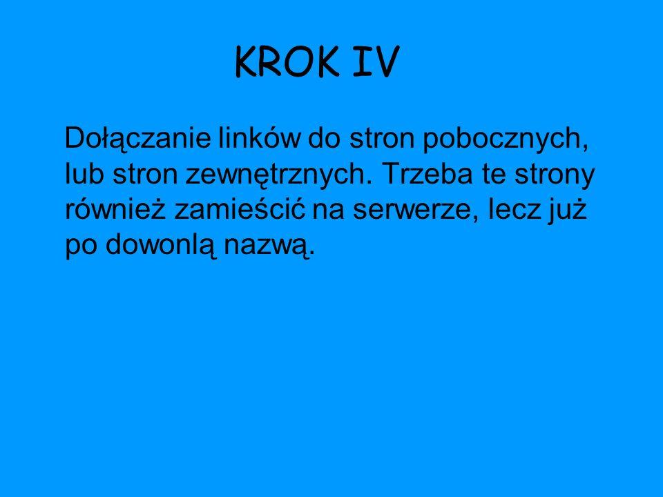 KROK IV Dołączanie linków do stron pobocznych, lub stron zewnętrznych. Trzeba te strony również zamieścić na serwerze, lecz już po dowonlą nazwą.