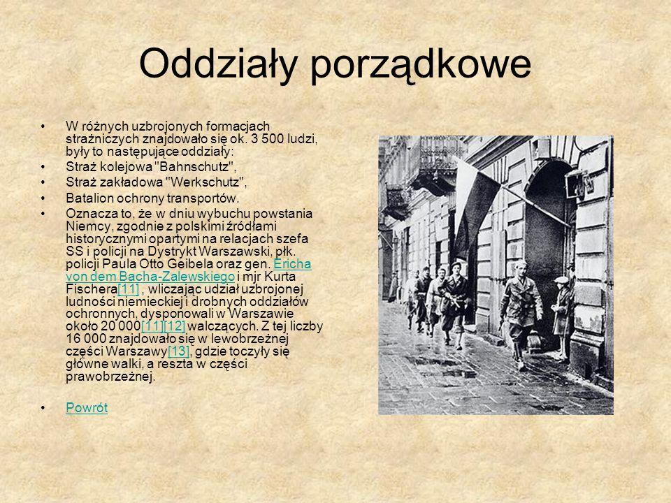 Oddziały porządkowe W różnych uzbrojonych formacjach strażniczych znajdowało się ok. 3 500 ludzi, były to następujące oddziały: Straż kolejowa