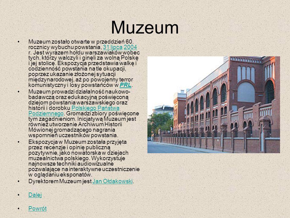 Muzeum Muzeum zostało otwarte w przeddzień 60. rocznicy wybuchu powstania, 31 lipca 2004 r. Jest wyrazem hołdu warszawiaków wobec tych, którzy walczyl