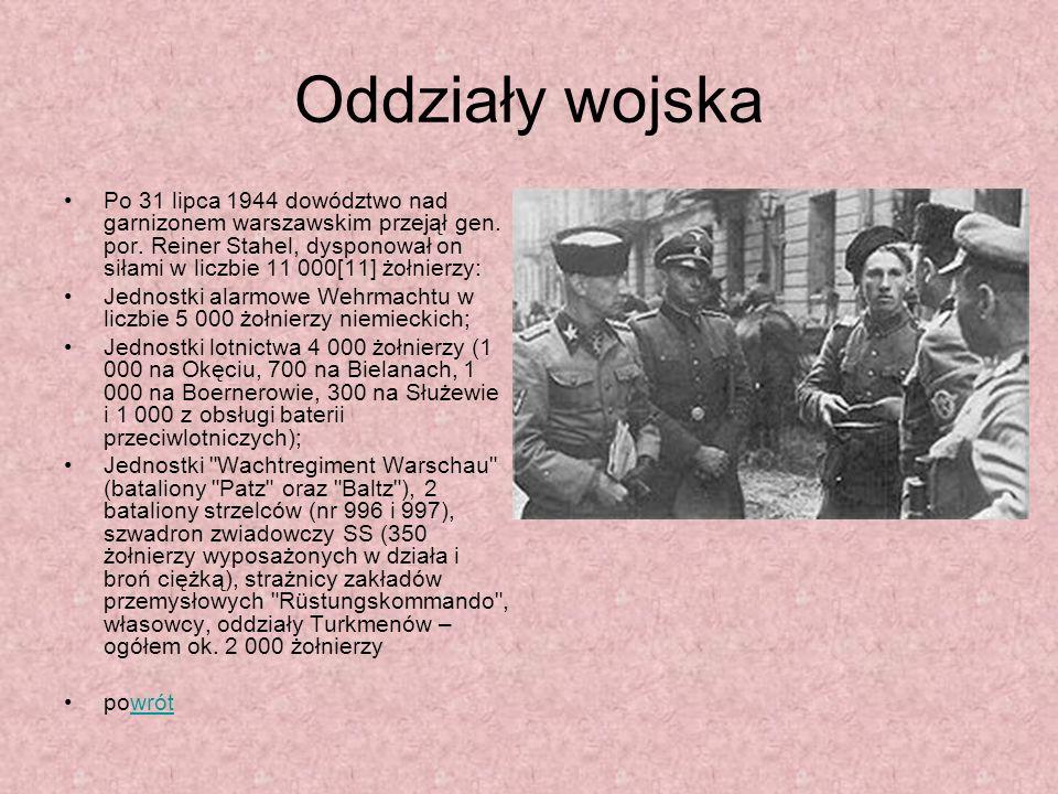 Oddziały wojska Po 31 lipca 1944 dowództwo nad garnizonem warszawskim przejął gen. por. Reiner Stahel, dysponował on siłami w liczbie 11 000[11] żołni