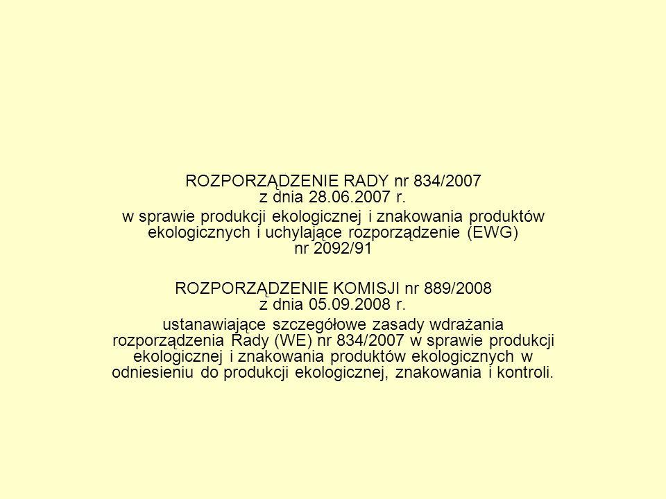 ROZPORZĄDZENIE RADY nr 834/2007 z dnia 28.06.2007 r. w sprawie produkcji ekologicznej i znakowania produktów ekologicznych i uchylające rozporządzenie
