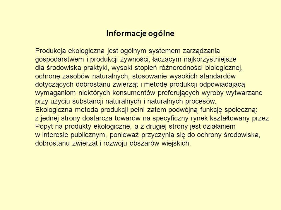 Informacje ogólne Produkcja ekologiczna jest ogólnym systemem zarządzania gospodarstwem i produkcji żywności, łączącym najkorzystniejsze dla środowisk