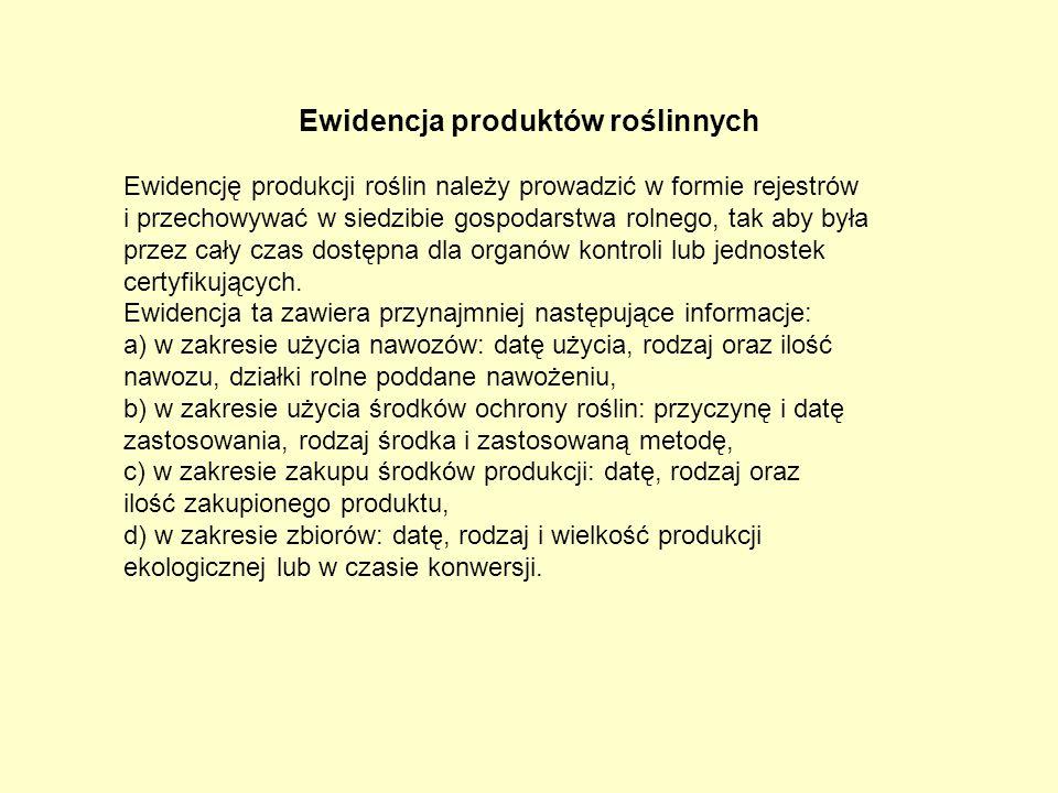 Ewidencja produktów roślinnych Ewidencję produkcji roślin należy prowadzić w formie rejestrów i przechowywać w siedzibie gospodarstwa rolnego, tak aby
