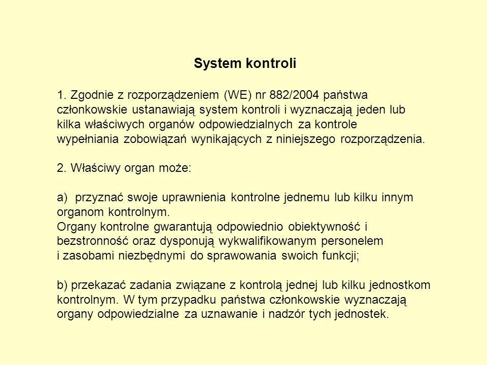 System kontroli 1. Zgodnie z rozporządzeniem (WE) nr 882/2004 państwa członkowskie ustanawiają system kontroli i wyznaczają jeden lub kilka właściwych