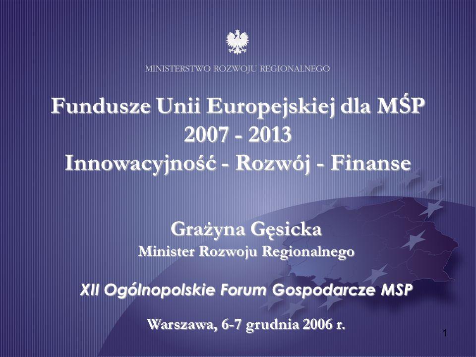 1 Fundusze Unii Europejskiej dla MŚP 2007 - 2013 Innowacyjność - Rozwój - Finanse Grażyna Gęsicka Minister Rozwoju Regionalnego XII Ogólnopolskie Foru